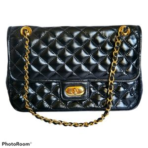 USA Black patent soft Quilted leather handbag